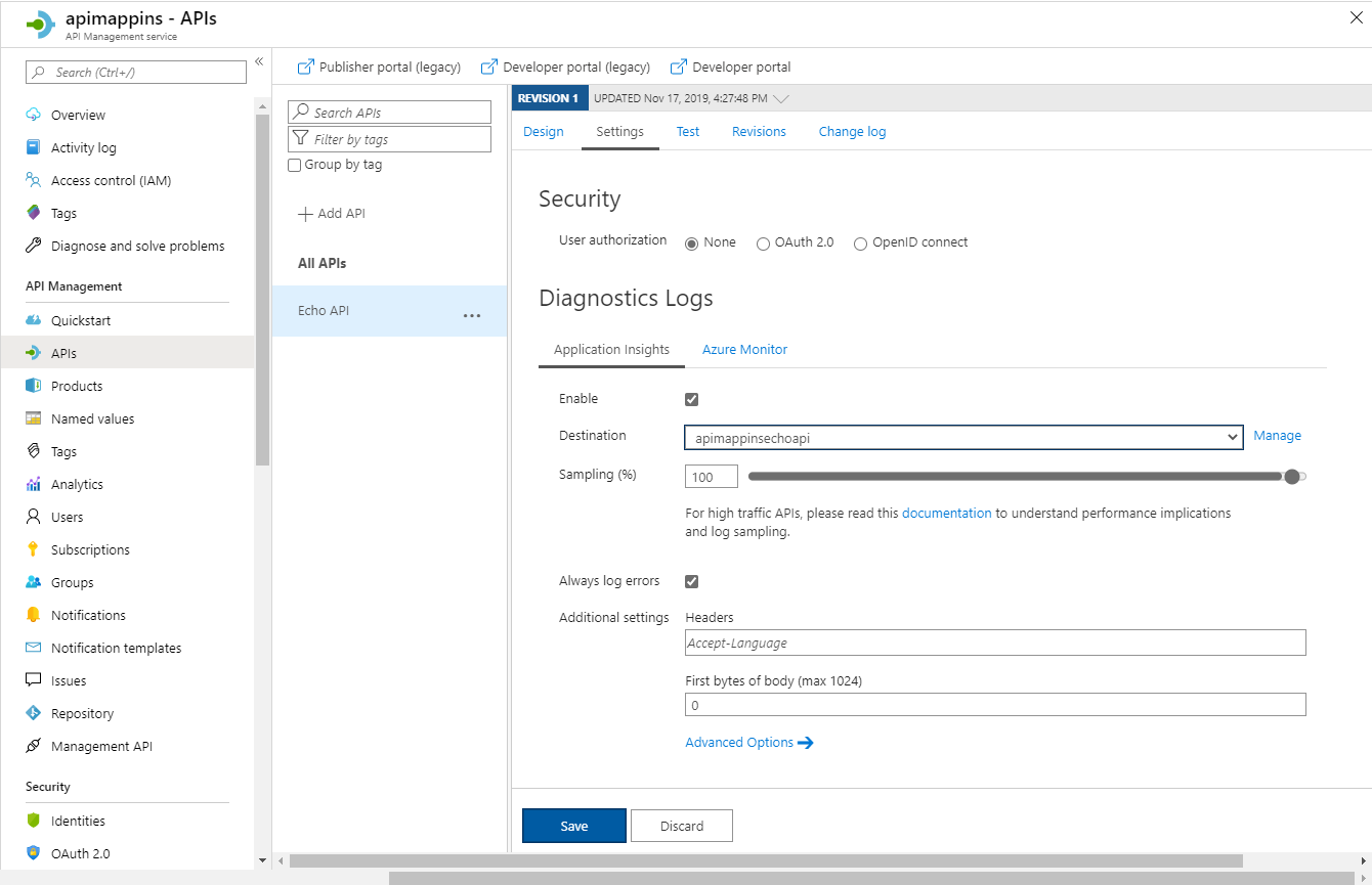 Add Application Insights into specific API